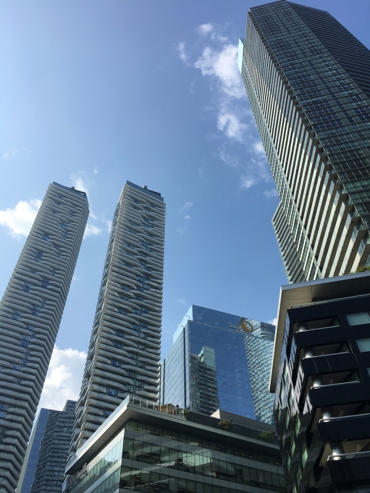 View of city with tall buildings